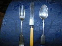 VINTAGE SILVER PLATED CUTLERY FIRTH CELLULOID HANDLE LLCS + D&S SPOON + TW FORK